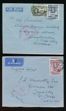 GOLD COAST 1939 AIRMAIL WW2 CENSOR No.5 to WALES + SCOTLAND...2 DIFFERENT RATES