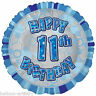 "18"" Happy 11th Birthday Party BLUE Glitz Prismatic Sparkle Round Foil Balloon"