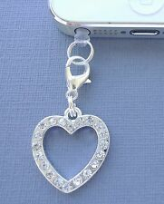 Heart Crystal cell phone Charm Anti Dust proof Plug ear cap jack For iPhone S18