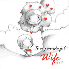 """""""To My Wonderful Wife"""" Cupids Birthday Card/Anniv/Valentine for her tree hearts"""