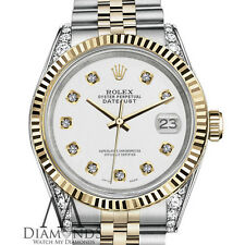 Classic White Rolex 31mm Datejust 2 Tone 18K & SS Diamond Lugs & Dial Watch