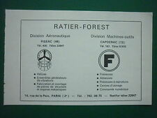 12/66 PUB RATIER FOREST FIGEAC AERONAUTIQUE CAPDENAC MACHINES OUTILS FRENCH AD