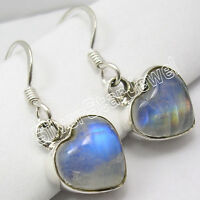 925 Silver RAINBOW MOONSTONE Nice HEART Earrings 1.1 Inch