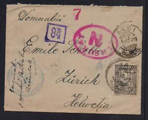 ROMANIA 1917 CENSORED MAILED COVER TO SWITZERLAND
