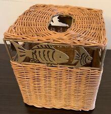 New listing Wicker Tissue Box Cover w/Fish