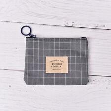 Stripe Canva Zero Wallet Children Clutch Zipper Women Pocket Pouch Key Coin Bag
