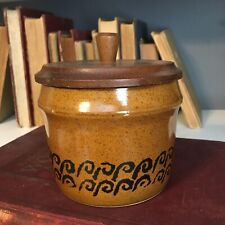 Vintage Japan Pottery Dish Container Jar W/ Wooden Wood Lid Black Scroll Design