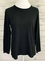Sonoma Top Womens Medium M Black Solid Long Sleeve Stretch Cotton Blend