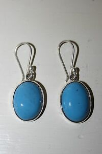 MEXICAN 925 SILVER ROUND DANGLING EARRINGS COMPRESSED TURQUOISE