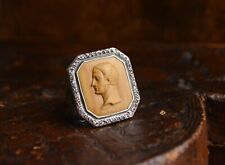 Antique Victorian Solid Silver And Ruby Cameo Ring