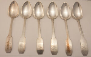 6 Coin Silver Serving Spoons - Saunders Pitman, Providence RI