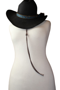 Western Leatherett Stampede String w Metal Tips 2 Colors Keeps Your Hat On