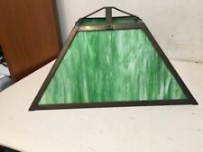 Vintage Arts & Crafts Green Slag Glass & Brass Lamp Shade Large 1 Broken Piece