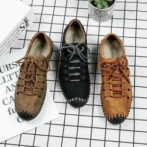 Mens Genuine Leather Summer Outdoor Shoes Casual Shoes Hiking Trail Sandals