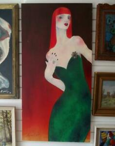 Large PEARL BATES Sassy British Modernist Portrait Oil Painting THE RED HEAD