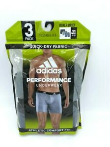 NEW Adidas 4XL 2 Pair Performance Climalite Boxer Briefs Underwear Gray