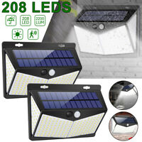208 LED Solar Power PIR Motion Sensor Wall Lights Outdoor Garden Security Lamp