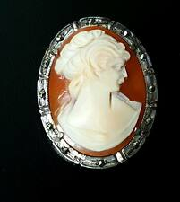 VINTAGE SOLID SILVER MARCASITE CARVED SHELL CAMEO BROOCH PENDANT