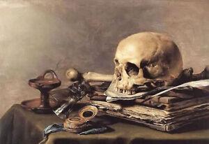 Oil painting pieter claesz - Still Life vanitas still life vanity skull & book