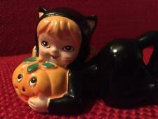 Lqqk! 1950/60s Lefton Darling Child Halloween Figurine-Kitty Cat Girl w/Pumpkin