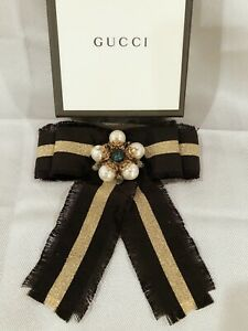NEW 100% Authentic GUCCI Grosgrain Black Gold Tone with Crystals Bow Brooch