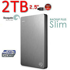 "2TB New SEAGATE Backup Plus SLIM 2.5"" USB3.0 External Hard Disk Drive 2 TB SILVE"