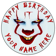 "IT PENNYWISE HALLOWEEN - 7.5"" PERSONALISED ROUND EDIBLE ICING CAKE TOPPER (2)"