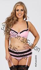 Ladies Pink/Black Bra & Shorts Lingerie/Underwear Set Valentines Gift (DA)