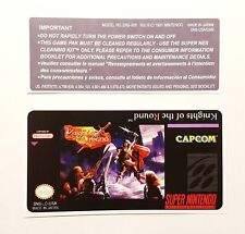 REPLACEMENT SNES CARTRIDGE STICKER LABELS FOR: KNIGHTS OF THE ROUND