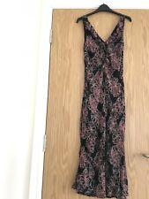 Oasis Midi Sheer Lined V Plunge Frill Size 10 Pink/Black FloralSpecial  Occasion
