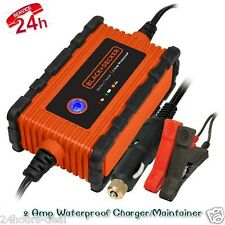 Car Truck Motorcycle Battery Charger Maintainer 2 Amp Waterproof Smart Trickle