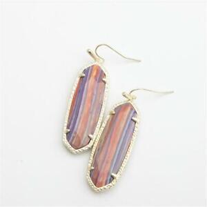 Kendra Scott Layla Gold Drop Earrings in Pink Rainbow Calsilica