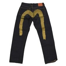 EVISU Lot 0001 Jeans Gr W34 Selvedge Selvage Denim Gold Painted Indigo 23cm Bein