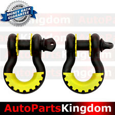 "1Pair 3/4"" Black 4.75 ton D-ring Shackle+Yellow Isolator Washers Silencer Clevis"