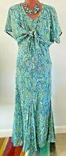 EAST 2 pc set MAXI DRESS & SHRUG outfit boho turquoise paisley sequin SIZE 14
