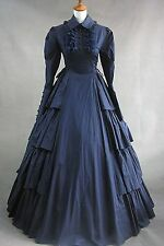 Ladies Blue Gothic Lolita Dress Long Sleeve Cotton Cosplay Costume Custom Made