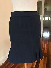 Oxford Navy & White Pinstripe Business Skirt - Size 6
