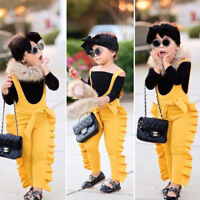 Toddler Baby Girl Ruffle Bib Pants Romper Jumpsuit Overalls Outfits Clothes Hot