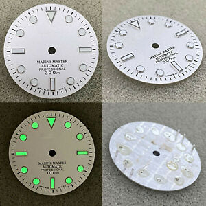 Sand White 29mm Watch Dial Green Luminous Dial for NH35A/NH36/4R36 Movement Part