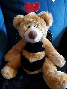 Russ Berrie Breezy Bear Plush Stuffed Animal Bumble Bee Hearts Valentines Wings