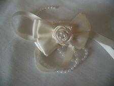 Stunning,Ivory/Cream,Communion, Bridal Rose Pearl Ribbon bow hair clip