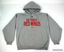 Men's Detroit Red Wings Reebok Spellout Hoodie Sweatshirt Sz Medium Grey