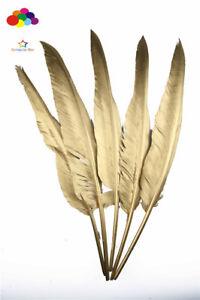 Gold turkey Feather 14-16 inch/35-40 cm 10-50pcs carnival Diy costume headress