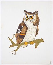 "VINTAGE OWL Needlepoint Picture Wall Hanging Handcrafted Completed 20"" x 16"""