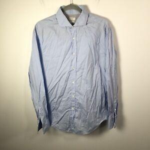 Brunello Cucinelli Mens button up shirt size Eur L aus M blue long sleeve cotton
