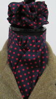 Ready Tied Navy Blue & Red Dot Cotton Riding Stock & Scrunchie - Show Tie Hunt