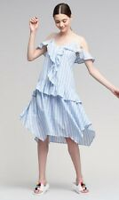 Anthropologie MOON RIVER L Dress EVA RUFFLED Cotton Cold Shoulder Lined NWT