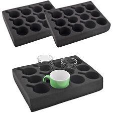 2x Tassenhalter Glashalter 12 er schwarz Spezial Schaum 330 x 245 x 60mm