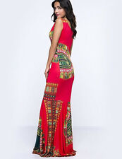 Women's Dress Mermaid Boho Trumpet Coral Tribal Fitted/Bodycon Scoop Neck BNWT