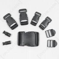 9 Piece Black Buckle Set - Replacement Spare Rucksack Webbing Belt Clips Plastic